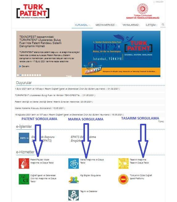 Patent sorgulama marka sorgulama tasarım sorgulama