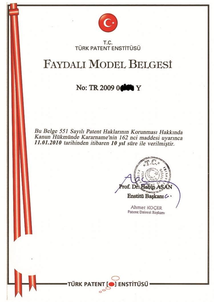 faydalı model tescil belgesi